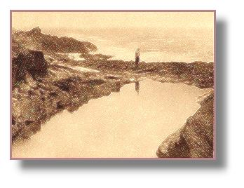 Polperro's tidal bathing pool from an old print
