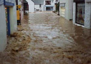 Flood in Polperro 1993 - Big Green - photo copyright Charles Mayo