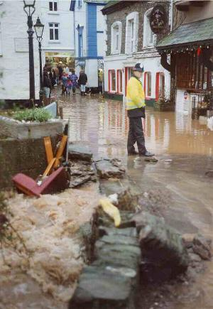 Flood in Polperro 1993 - Big Green from Saxon Bridge - photo copyright Charles Mayo