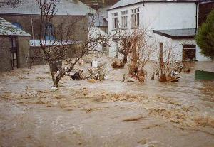 Flood in Polperro 1993 - rear of Chapel - photo copyright Charles Mayo