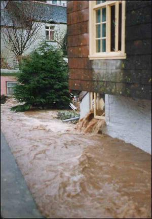 Flood in Polperro 1993 - photo copyright Charles Mayo