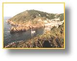 Polperro harbour entrance, sunny morning, August 1999 - photo:RJT