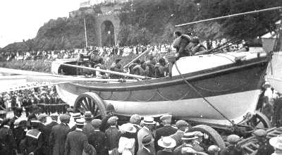 photo of the Ryder lifeboat being launched at Looe in 1930